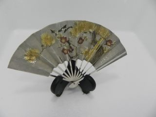 Exquisite Hand Engraved Signed Japanese Sterling Silver Ohgi Fan Japan Takehiko photo