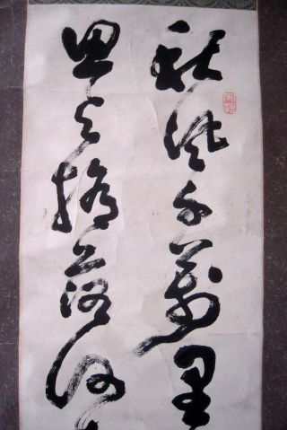 Antique Japanese Hanging Scroll Calligraphy - - Tenju photo