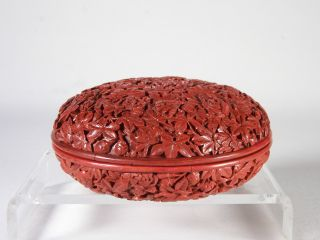 Fabulous 18c Chinese Carved Cinnabar Lacquer Floral Box Of The Finest Quality photo