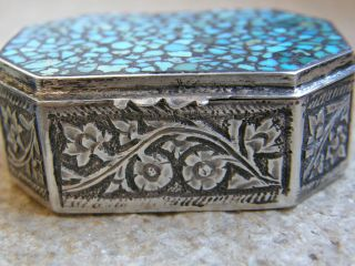 Antique Solid Sterling Silver Indian Snuff/pill Box photo