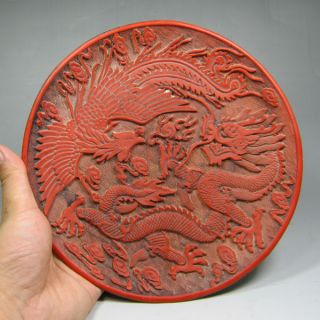 Chinese Old Lacquerwork Hand Red Lacquer Carving Dragon Phoenix Big Plate photo