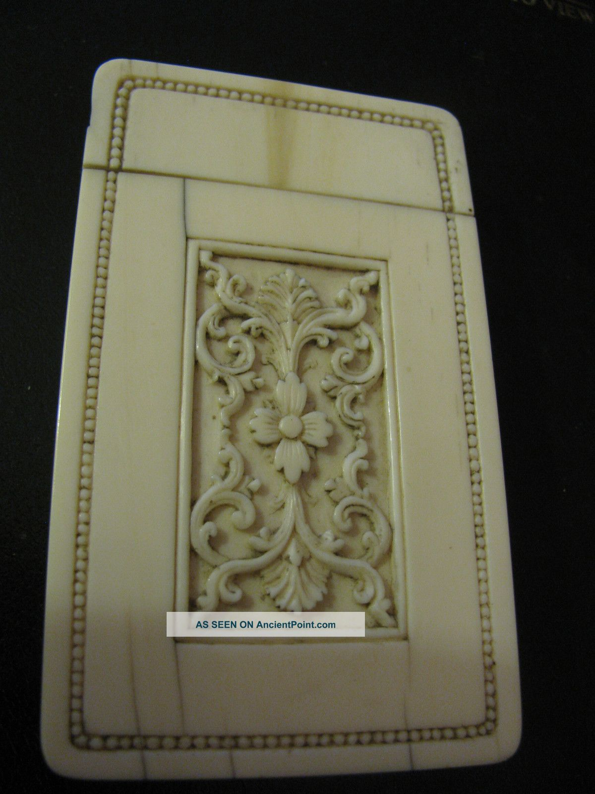Fine Quality Meiji Period Carved Calling Card Case,  A/f Boxes photo