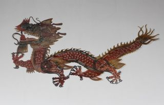 Chinese Handwork Carving Dragon Old Cowhide Shadow Puppet Art photo