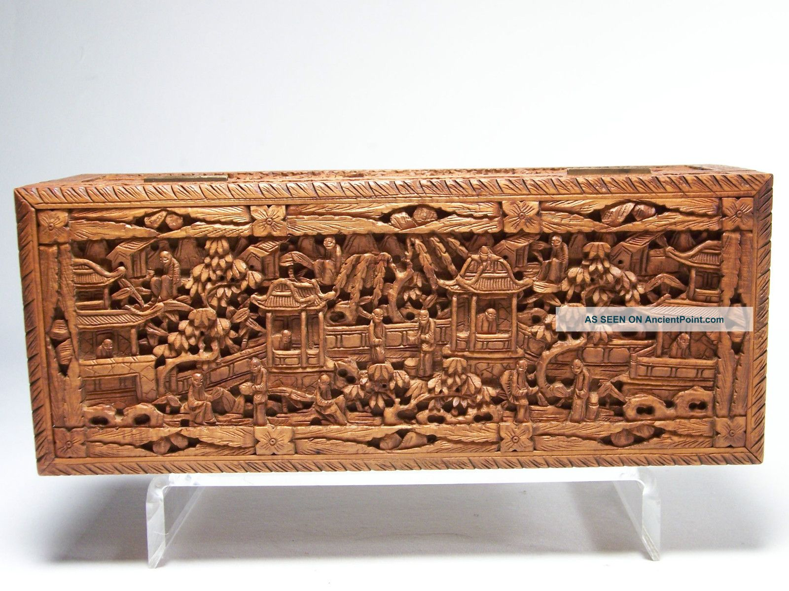19c Chinese Cantonese Export Sandalwood Figural Box Carved