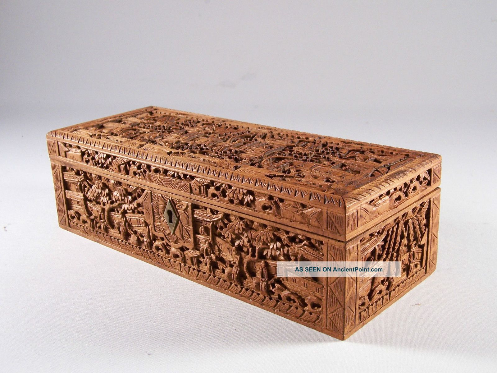 19c Chinese Cantonese Export Sandalwood Figural Box Carved In Deep Relief Boxes photo