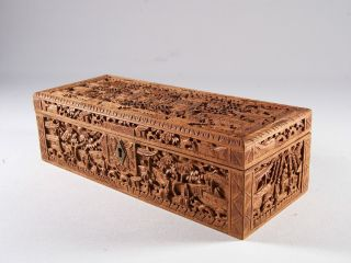 19c Chinese Cantonese Export Sandalwood Figural Box Carved In Deep Relief photo