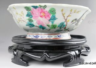 Famille Rose Antique Chinese Bowl In Sunflower Shape With Delphinium & Flowers photo