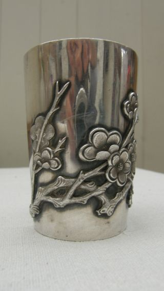 Antique Chinese Silver Beaker,  Vase,  Marked To Base.  143.  5 Grams photo