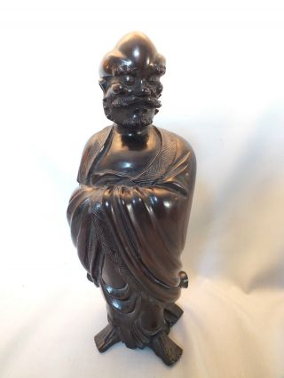 Well Carved Chinese Hardwood Figure Of An Old Man In A Robe 19thc photo