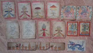 Mongolian Antique Buddhist Old Rare Paints 19 C (many) photo