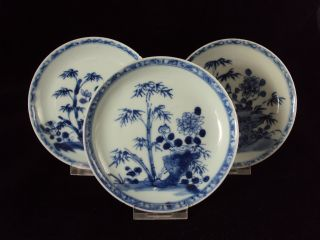 3 Chinese Porcelain Saucers,  Flowers,  Kangxi Period photo