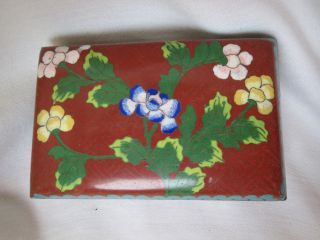 Antique Chinese Cloisonne Enamel Brass Footed Gorgeous Box Nr photo