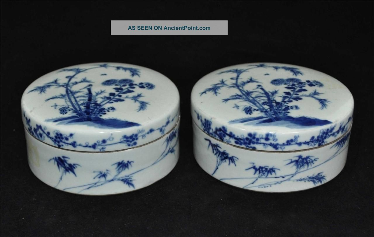 Pair Of Chinese Blue & White Porcelain Ink Boxes With Jiaqing Mark Boxes photo
