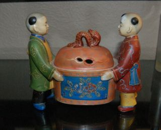 Late 19th Century Japanese Censer With Attendants. photo