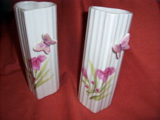 Vintage Hand Painted Ceramic Heart Shaped Bud Vases W/ Buttlerflies.  Japan photo
