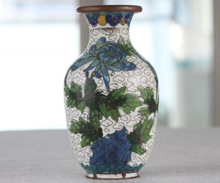 Chinese Flowers Old Cloisonne Handmade Vase, photo