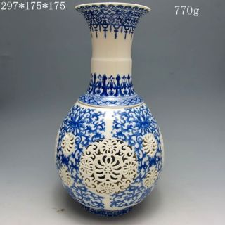 Set 2 Pieces Hollowed Chinese Blue And White Porcelain Big Vase W Qianlong Mark photo