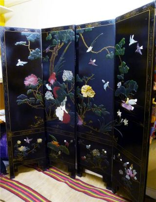 Antique Asian Chinese 4 Panel Screen Black Lacquer Marble Stone Pietra Dura photo