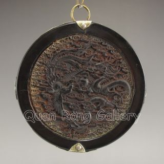 Chinese Ox Horn Pendant - Dragon & Phoenix Nr photo