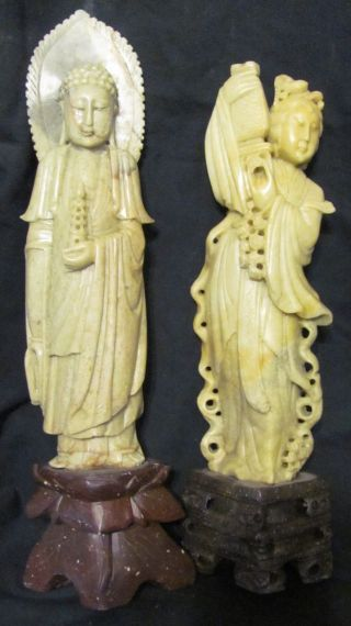 Pair Of Chinese Carved Soapstone Figures Of Man & Woman photo