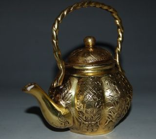 Chinese Brass Teapots&lid Description Buddhism Eight Treasure Xuande Mark Nr photo