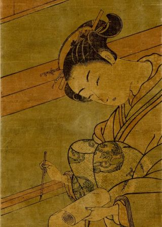 Harunobu - Japanese Woodblock Pillar Print - 1765 Young Woman Writing photo