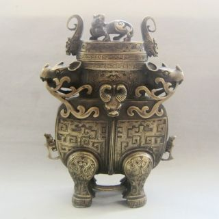 1773g Chinese Bronze Vase & Lid W Fortune Beast Nr photo