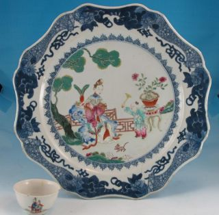 Antique 18th C Chinese Famille Rose Qianlong Charger W/ Figures 13.  75 In 34.  9 Cm photo