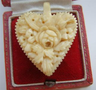 Antique Victorian Natural Hand Carved Floral Heart Shaped Pendant photo