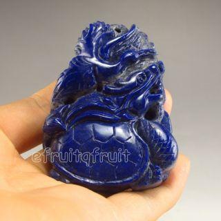 Chinese Lapis Lazuli Statue - Ao Dragon Turtle & Crane photo