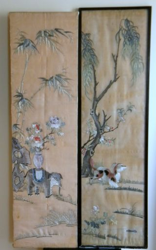 Pair Of 19th Century Silk Panels,  Long Stitch Embroidery,  114cm photo