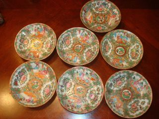 Antique Chinese Rose Medallion Soup Bowl 6