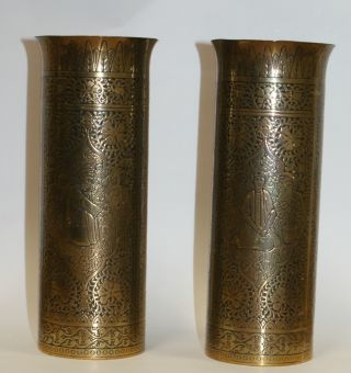 Pair Antique Brass Indian Vases Engraved Designs Figure Panels Niello Kingo photo
