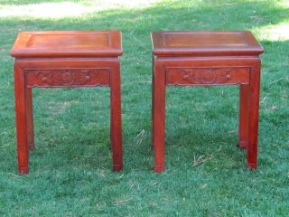 Pair Antique Chinese Carved Rosewood Side Tables,  Bat & Longevity Motif Panels photo