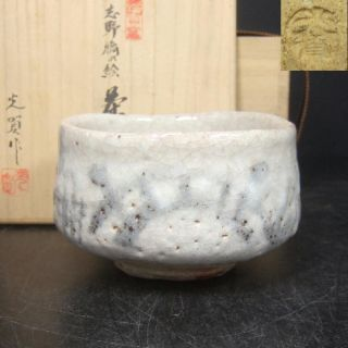 F092: Japanese Shino Pottery Ware Tea Bowl With Bridge Design W/signed Box. photo