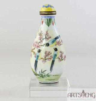Sb135 Hand Made Kindly Enamel On Brass Base Magpie Plum Snuff Bottle photo