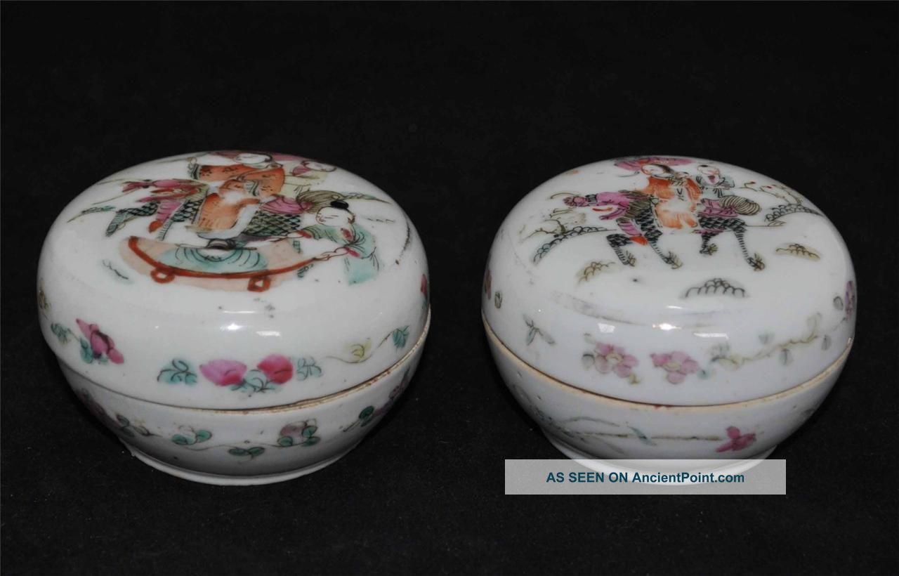 Pair Of Chinese Antique Porcelain Boxes With Tongzi Mark Boxes photo