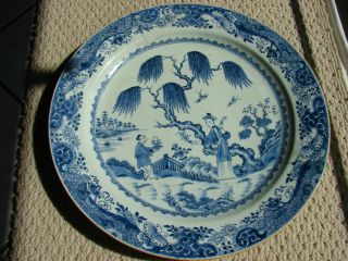 Large Chinese Ching Dynasty Blue And White Porcelain Plate Ching Lung (qinglong) photo