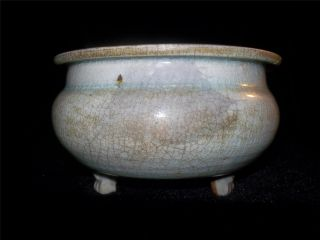 18 - 19 Th C Chinese Porcelain Celadon Crackle Glazed Tri Pod Bowl / Censer photo