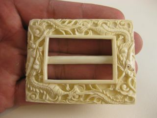 Estate Vintage Deeply Carved Ox Bone With Lines Dragon Detailed Belt Buckle Look photo