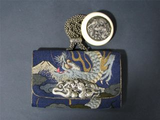Fine Antique Japanese Embroidered Tobacco Pouch Silver Mounts & Manju Netsuke photo