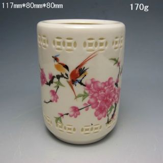 Hollowed Chinese Rose Colorful Porcelain Brush Pots - - Magpie W Qianlong Mark 1824 photo