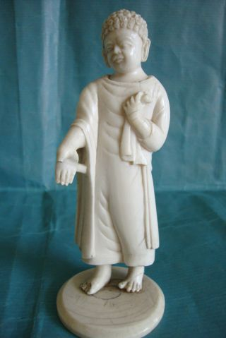 Indian Carved Bone Faux Ivory Figure 19c Circa 1870 photo