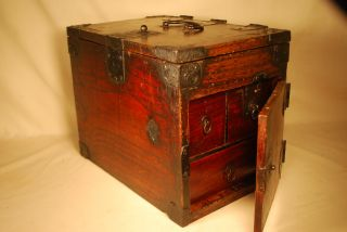 Antique Japanese Edo Era Calligraphy Box Suzuribako Tansu With Secret Stash photo