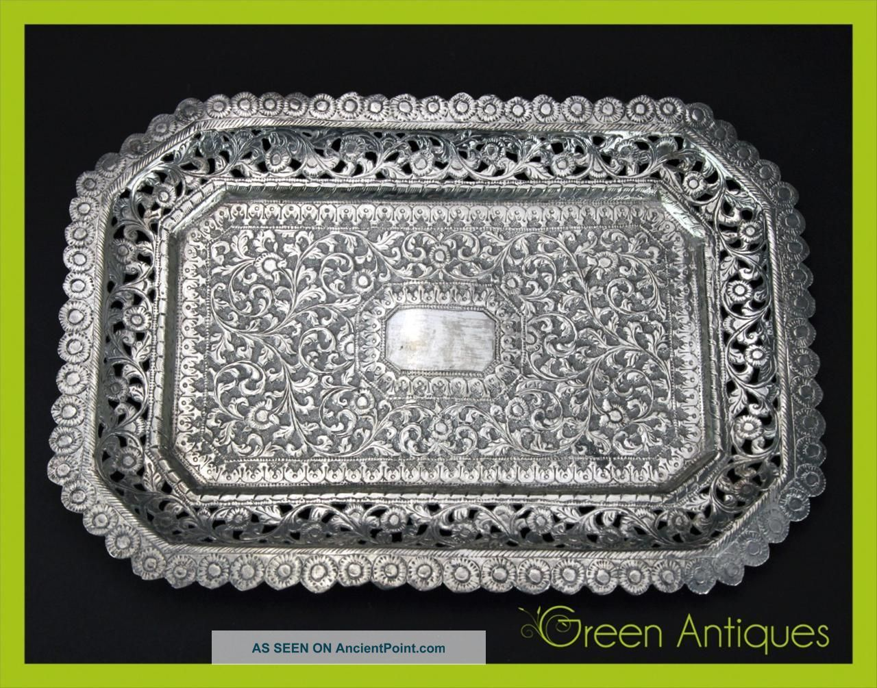 Antique 19thc Indian Kutch Solid Silver Hand Crafted Tray C.  1880 Platters & Trays photo