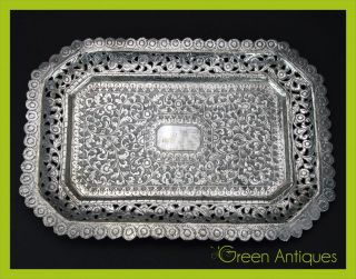 Antique 19thc Indian Kutch Solid Silver Hand Crafted Tray C.  1880 photo