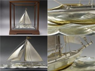 Sterling Silver 985 Sailing Ship Yacht Japanese Hand Made photo