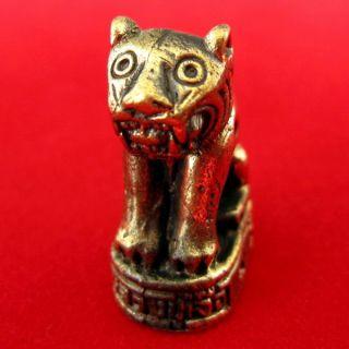 Magic Tiger Lp Jau Wat Krang Bang Keaw Powerful Life Protection Thai Amulet photo
