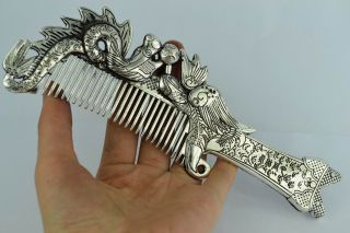 China Collectibles Old Decorated Wonderful Handwork White Copper Dragon Comb photo