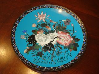 Antique Japanese Cloisonne Charger Plate 12